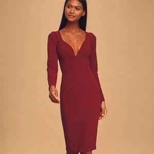 Truth Be Told Burgundy Bodycon Midi Dress - BNWT